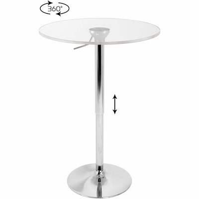 Adjustable Bar Table with Clear Top - Lumisource