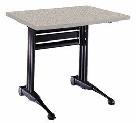 Adjustable Rectangular Table in Nebula Gray - Mayline Office Furniture - TT48RANGRBLK