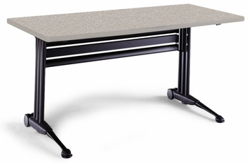 Adjustable Rectangular Table in Nebula Gray - Mayline Office Furniture - TT54RANGRBLK