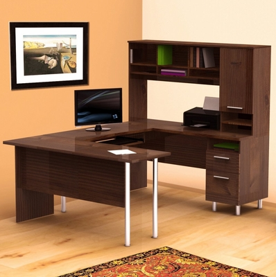 Aero Lite U-Shaped Workstation with Hutch - Nexera Furniture - 400162