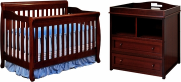 AFG Baby Alice 3 in 1 Convertible Crib and 2 Drawer Changer Combo Cherry