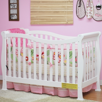 AFG Baby Nadia Convertible Crib with Toddler Rail White