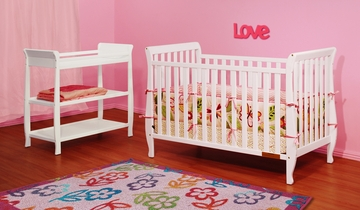 AFG Baby Naomi 4 in 1 Convertible Crib and Changer Set White