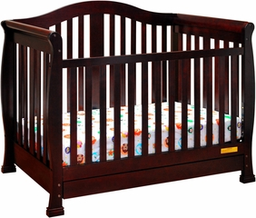 AFG Baby Spring Convertible Crib with Drawer with Toddler Rail Cherry