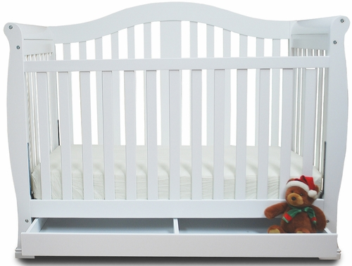 AFG Baby Spring Convertible Crib with Drawer with Toddler Rail White