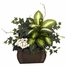 African Violet, Dieffenbachia and Ivy with Chest Silk Plant - Nearly Natural - 6684
