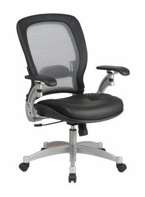 Air Grid Back Leather Chair - Office Star - 3680