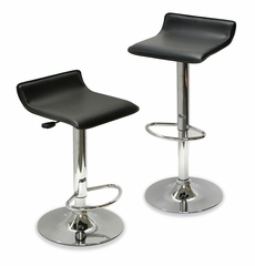 Airlift Adjustable Bar Stool in Chrome and Black - Set of 2 - Winsome Trading - 93329