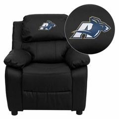 Akron Zips Embroidered Black Leather Kids Recliner - BT-7985-KID-BK-LEA-45020-EMB-GG