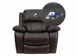 Akron Zips Embroidered Brown Leather Rocker Recliner - MEN-DA3439-91-BRN-45020-EMB-GG