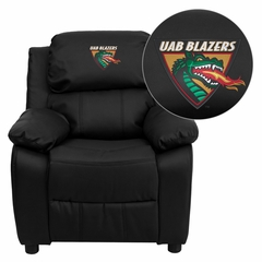 Alabama at Birmingham Blazers Embroidered Black Leather Kids Recliner - BT-7985-KID-BK-LEA-45021-EMB-GG
