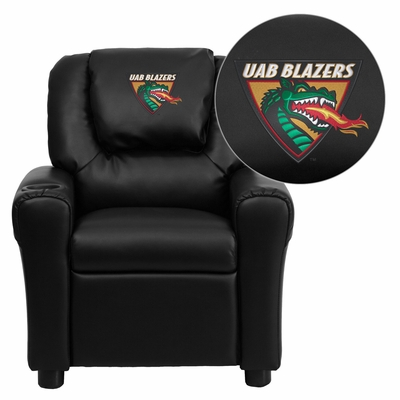 Alabama at Birmingham Blazers Embroidered Black Vinyl Kids Recliner - DG-ULT-KID-BK-45021-EMB-GG