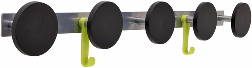 ALBA 5 Plastic Knob Wall Coat Rack with 2 Plastic Hooks