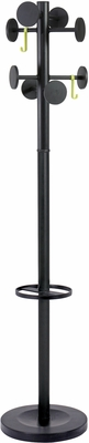 ALBA Black Floor Coat Stand with 8 Rounded Plastic Coat Pegs