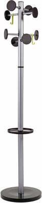 ALBA Metallic Grey Floor Coat Stand with 8 Rounded Plastic Coat Pegs