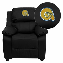 Albany State University Golden Rams Leather Kids Recliner - BT-7985-KID-BK-LEA-41002-EMB-GG