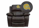 Albany State University Golden Rams Leather Rocker Recliner  - MEN-DA3439-91-BRN-41002-EMB-GG