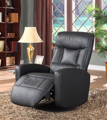 Alcander Leather Recliner in Black - Rissanti Recliner Chairs - L834