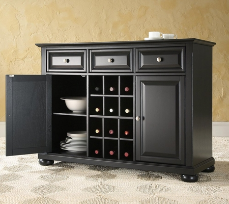 Alexandria Buffet Server / Sideboard Cabinet with Wine Storage in Black Finish - Crosley Furniture - KF42001ABK