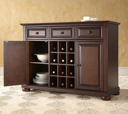 Alexandria Buffet Server / Sideboard Cabinet with Wine Storage in Vintage Mahogany Finish - Crosley Furniture - KF42001AMA