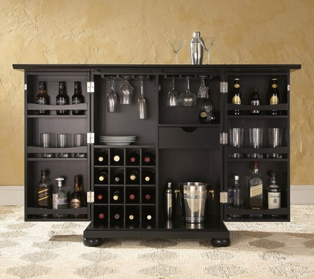 Alexandria Expandable Bar Cabinet in Black Finish - Crosley Furniture - KF40001ABK