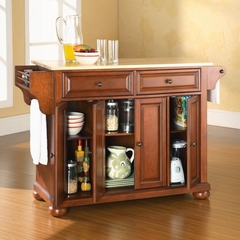 Alexandria Natural Wood Top Kitchen Island in Classic Cherry Finish - Crosley Furniture - KF30001ACH