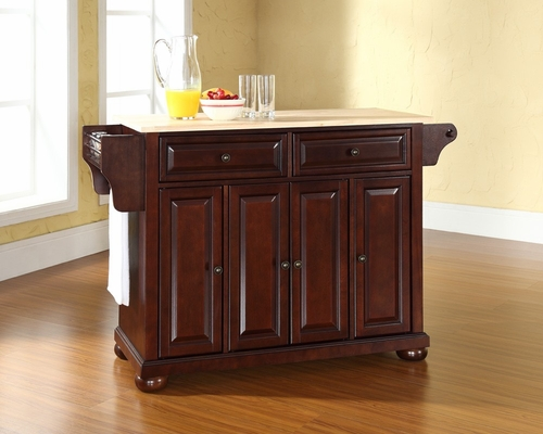 Alexandria Natural Wood Top Kitchen Island in Vintage Mahogany - CROSLEY-KF30001AMA