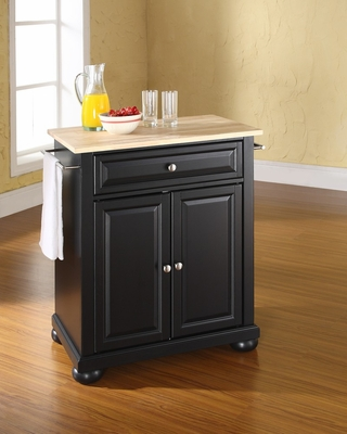 Alexandria Natural Wood Top Portable Kitchen Island in Black - CROSLEY-KF30021ABK
