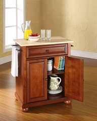 Alexandria Natural Wood Top Portable Kitchen Island in Classic Cherry - CROSLEY-KF30021ACH