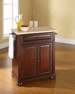 Alexandria Natural Wood Top Portable Kitchen Island in Vintage Mahogany - CROSLEY-KF30021AMA