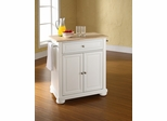 Alexandria Natural Wood Top Portable Kitchen Island in White - CROSLEY-KF30021AWH