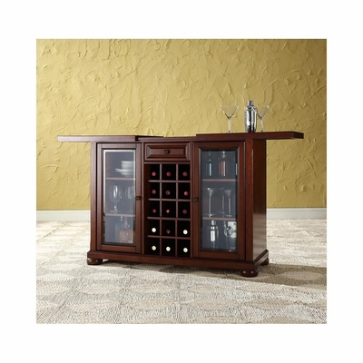 Alexandria Sliding Top Bar Cabinet in Vintage Mahogany - CROSLEY-KF40002AMA