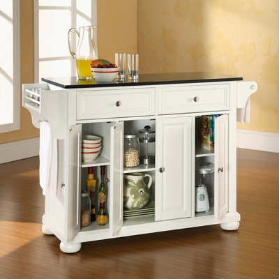 Alexandria Solid Black Granite Top Kitchen Island in White Finish - Crosley Furniture - KF30004AWH