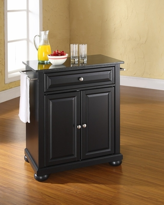Alexandria Solid Black Granite Top Portable Kitchen Island in Black - CROSLEY-KF30024ABK