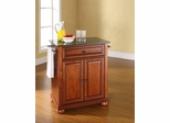 Alexandria Solid Black Granite Top Portable Kitchen Island in Classic Cherry - CROSLEY-KF30024ACH
