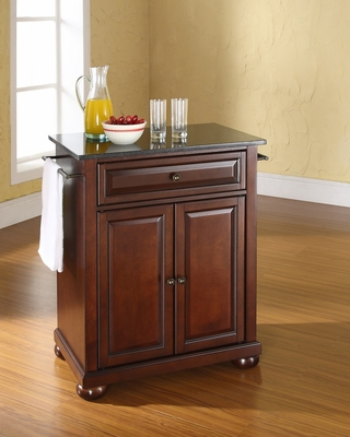 Alexandria Solid Black Granite Top Portable Kitchen Island in Vintage Mahogany - CROSLEY-KF30024AMA