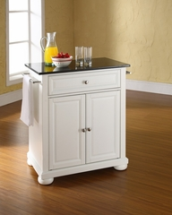 Alexandria Solid Black Granite Top Portable Kitchen Island in White - CROSLEY-KF30024AWH