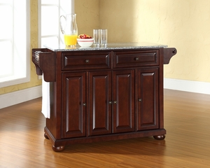 Alexandria Solid Granite Top Kitchen Island in Vintage Mahogany - CROSLEY-KF30003AMA