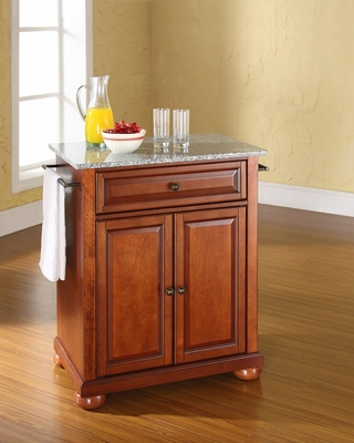 Alexandria Solid Granite Top Portable Kitchen Island in Classic Cherry - CROSLEY-KF30023ACH