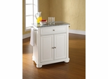 Alexandria Solid Granite Top Portable Kitchen Island in White - CROSLEY-KF30023AWH