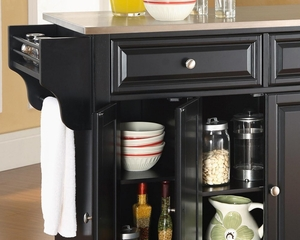 Alexandria Stainless Steel Top Kitchen Island in Black Finish - Crosley Furniture - KF30002ABK