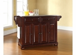 Alexandria Stainless Steel Top Kitchen Island in Vintage Mahogany - CROSLEY-KF30002AMA