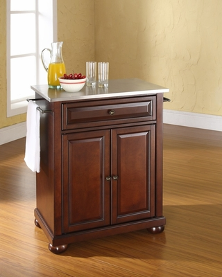 Alexandria Stainless Steel Top Portable Kitchen Island in Vintage Mahogany - CROSLEY-KF30022AMA