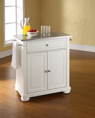 Alexandria Stainless Steel Top Portable Kitchen Island in White - CROSLEY-KF30022AWH