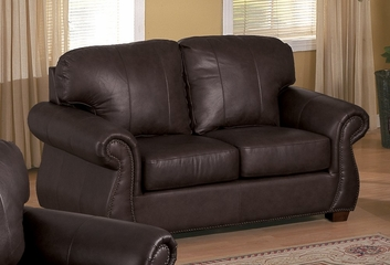 All Leather Loveseat in Dark Chocolate - 9834DC-2