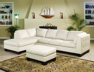 All Leather Sofa Sectional in Ivory - 8-Way-Hand-Tied - 9958IV