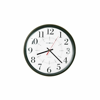 Alton Round Matte Black Wall Clock - Howard Miller