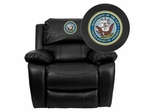 America's Navy Black Leather Rocker Recliner - MEN-DA3439-91-BK-MIL-NV001-EMB-GG