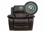 America's Navy Brown Leather Rocker Recliner - MEN-DA3439-91-BRN-MIL-NV001-EMB-GG