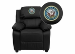 America's Navy Embroidered Black Leather Kids Recliner - BT-7985-KID-BK-LEA-MIL-NV001-EMB-GG